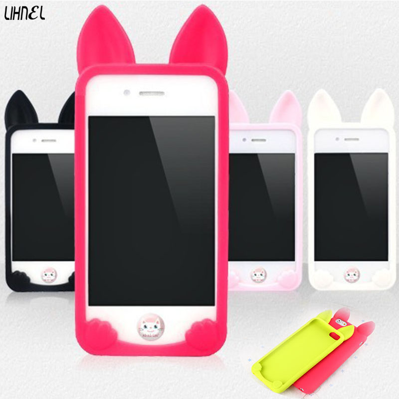 Candy Color Silicone Rubber Phone Apple Iphone 6 S 6S 7 8 Plus X 5 5S SE Cute Cartoon Koko Cat Ears Soft TPU Cover