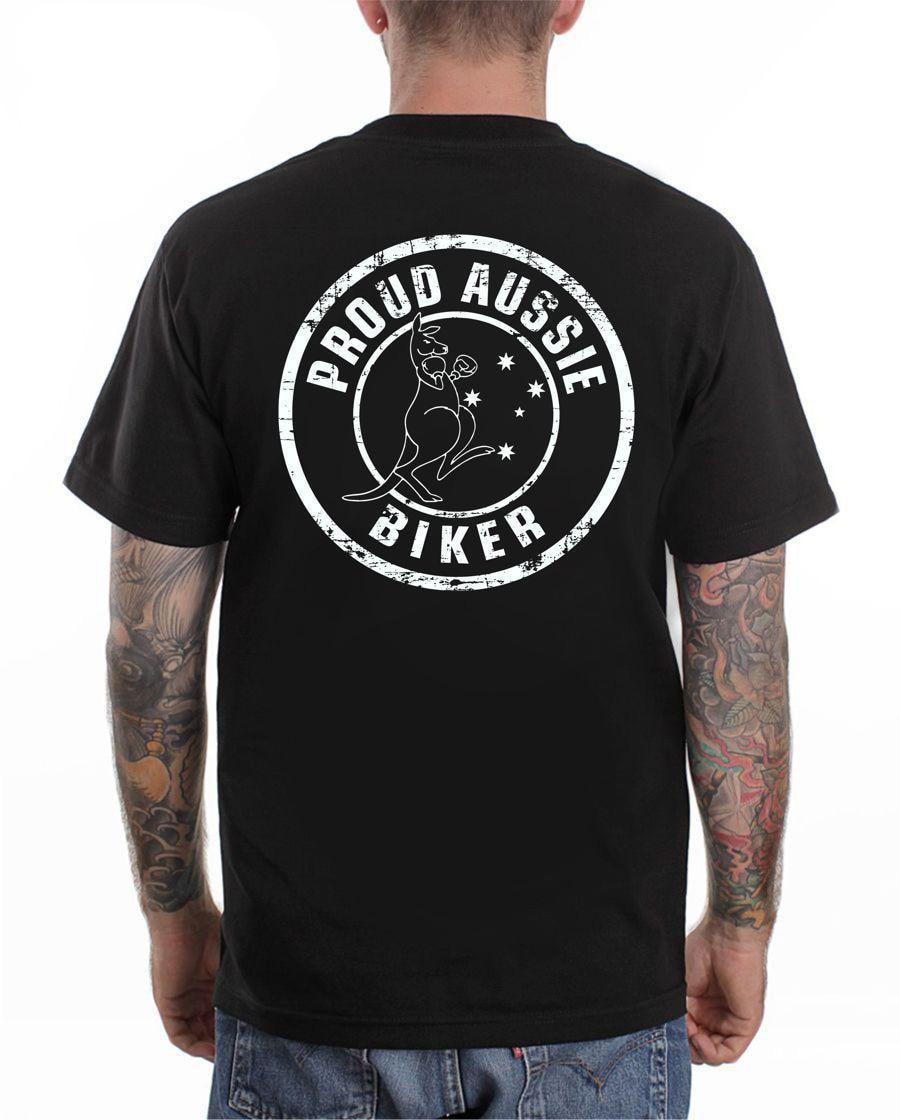 Hot sale Fashion Street wear Fashion Men T Shirts Round Neck Proud Aussie Motorcycle Cafe Tee shirts