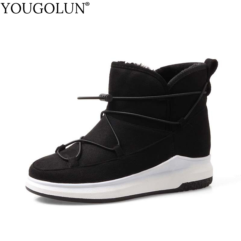 YOUGOLUN Women Snow Boots New 2018 Winter Stretch Cloth Woman Ankle Boots Ladies Black Gray Round toe Warm Platform Shoes #A-050