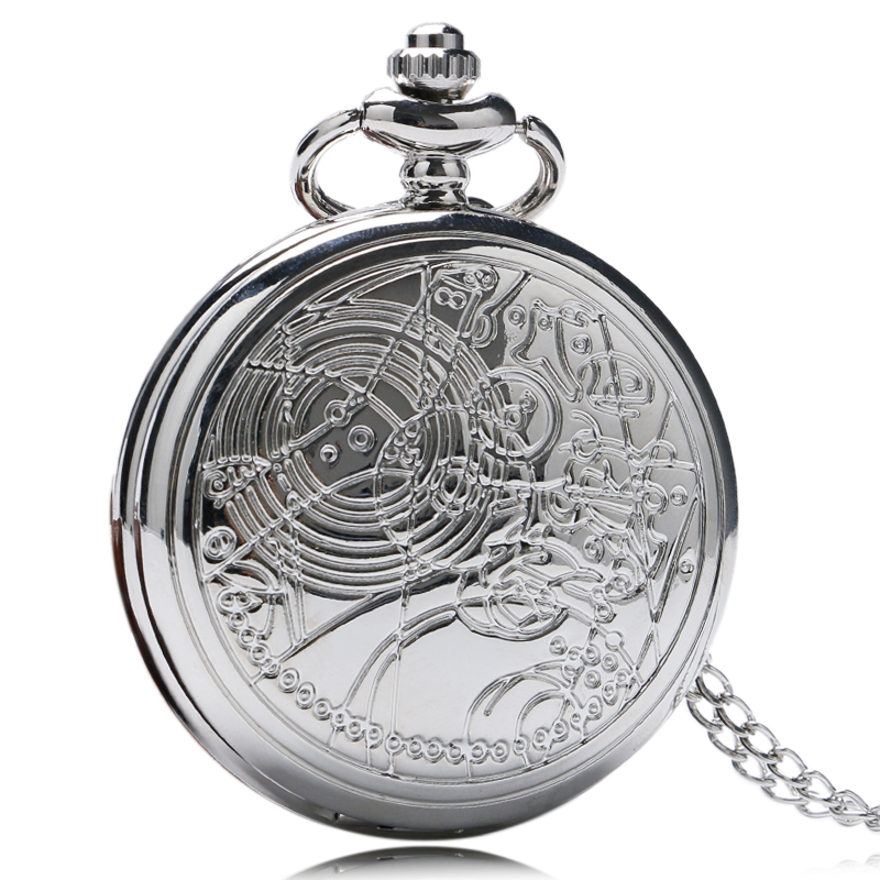 Men Women Silver Doctor Who Designer Quartz Pocket Watches With Long Necklace Chain Gift Round Clock 5