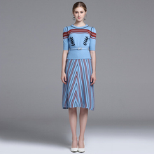 European and American wind high quality wool knitting in the round collar suit dress sleeve + half-length skirt to show thin str
