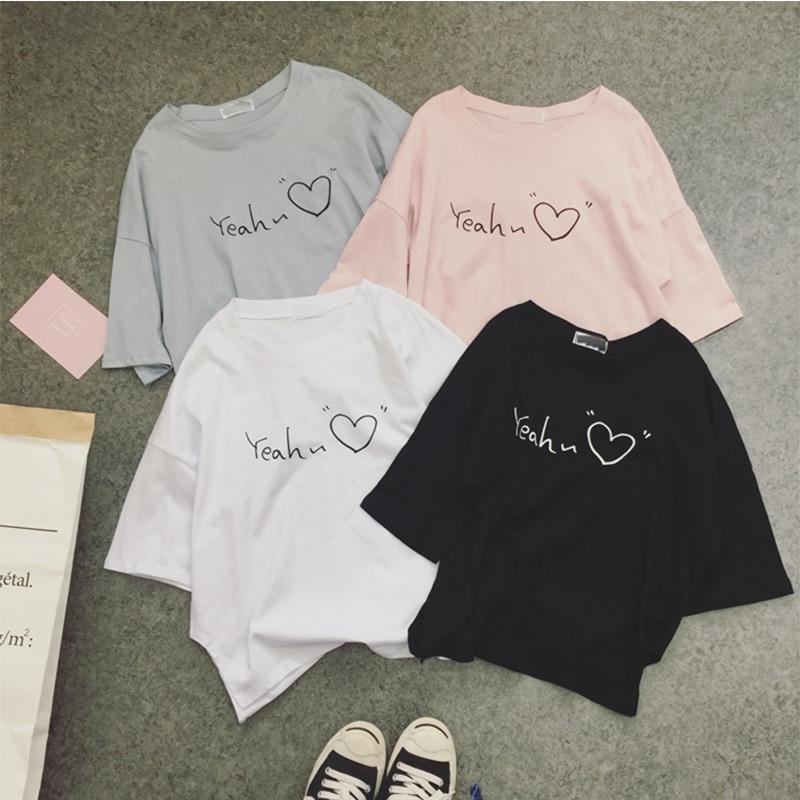 T Shirt Women Vintage New Korean Cheap Clothes Short Sleeve Love Print Summer T-Shirt Women's Tshirt Vestidos Ropa Mujer T033