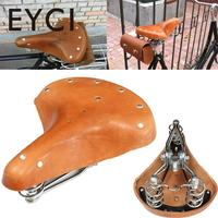 EYCI Bike Classic Genuine Leather Sprung Bicycle Saddle Retro Rivets Brown Cycling Bike Saddle Seat Comfort Cushion