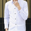 Venda quente nova moda primavera homens populares camisas Turn down Collar único Breasted negócios All jogo adolescentes Casual Polka Dot Cozy