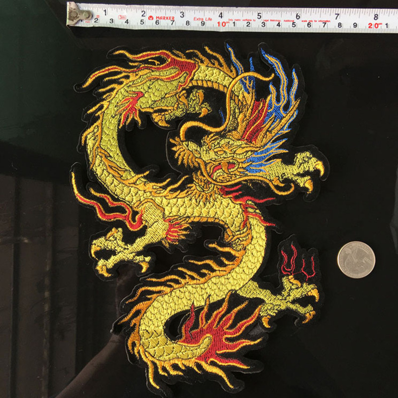 Mirror Pair Dragon Patch Iron On Sticker Embroidery Applique Craft with Gum DIY