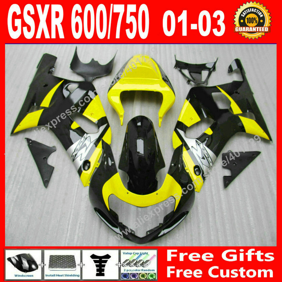 ABS plastic Fairings for 2001 2002 2003 SUZUKI black yellow bodywork GSXR 600 750 gsxr600 gsxr750 01 02 03 fairing kits HI97