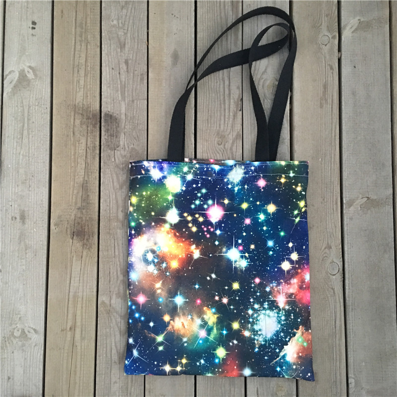 1Pc No Lining Polyester Canvas Eco Shopping Tote Shoulder Bag Print Starry Sky Space 8111A