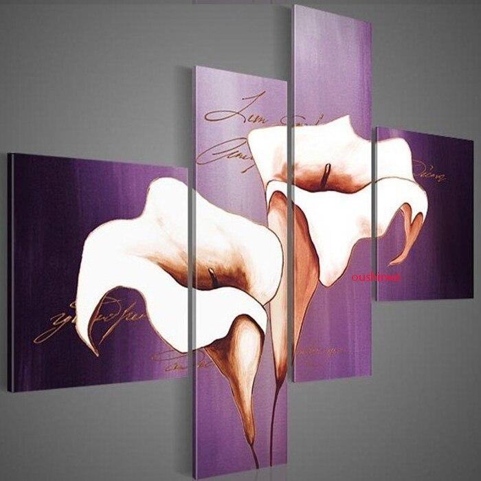 Peint à la main mur d'huile lavande belles fleurs décoration abstraite paysage violet peinture à l'huile sur toile groupe 4 pièces/ensemble Art