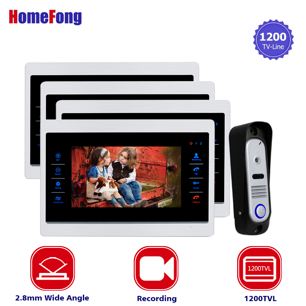 Homefong 7 Inch Video Intercom Camera Door Phone Entry System 1200TVL Wide Angle Metal 4 Monitors 1 Outdoor Panel Station стоимость