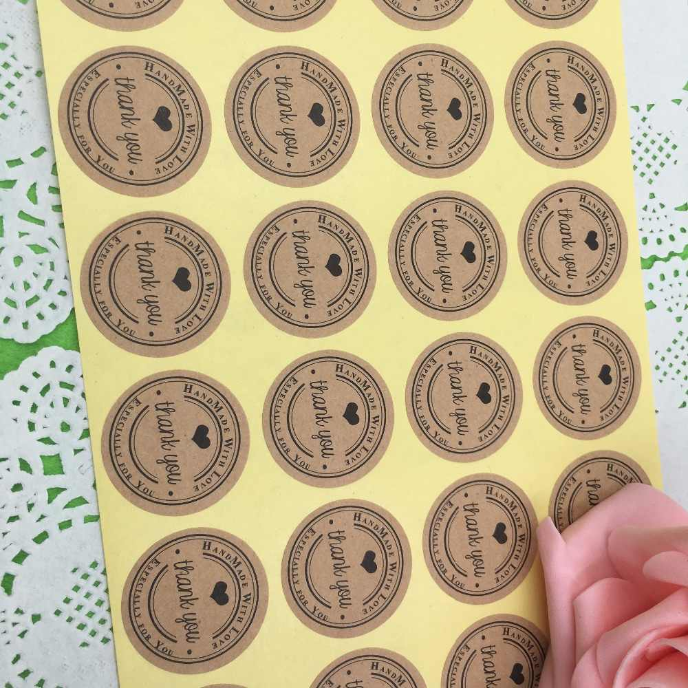 "100 Pcs 3cm Round ""Thank you"" Kraft Paper Seal Sticker For Handmade Products DIY Self-adhesive Cake Packaging Lable"