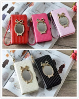 Bling Bowknot Mirror Diamond Flip Wallet Leather Case For Iphone 7 6 6S Plus 5 5S