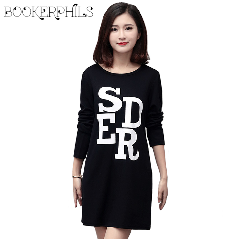 2017 Brand Spring Autumn Plus Size Loose O Neck Long Sleeve Women T Shirt Letter Printing