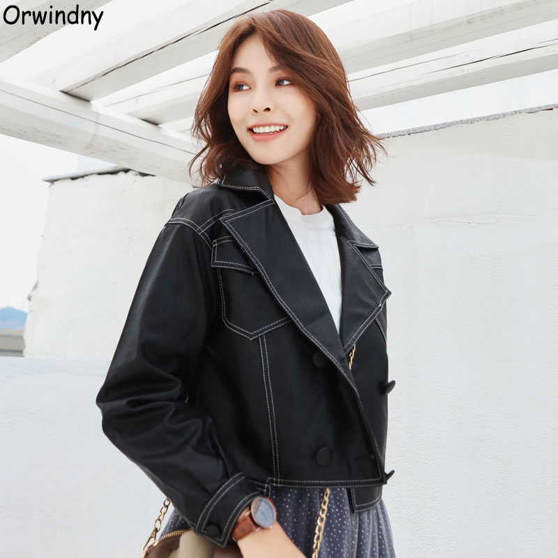 Orwindny Loose Casual   Leather   Jacket Women Black Pocket Short   Leather   Coat Female Women's   Leather   Jacket   Suede