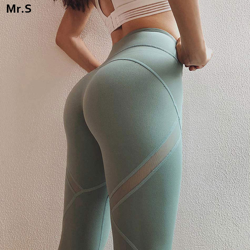 High waist mesh yoga pants workout gym yoga legging patchwork mesh panel fitness sport legging green running tights spandex