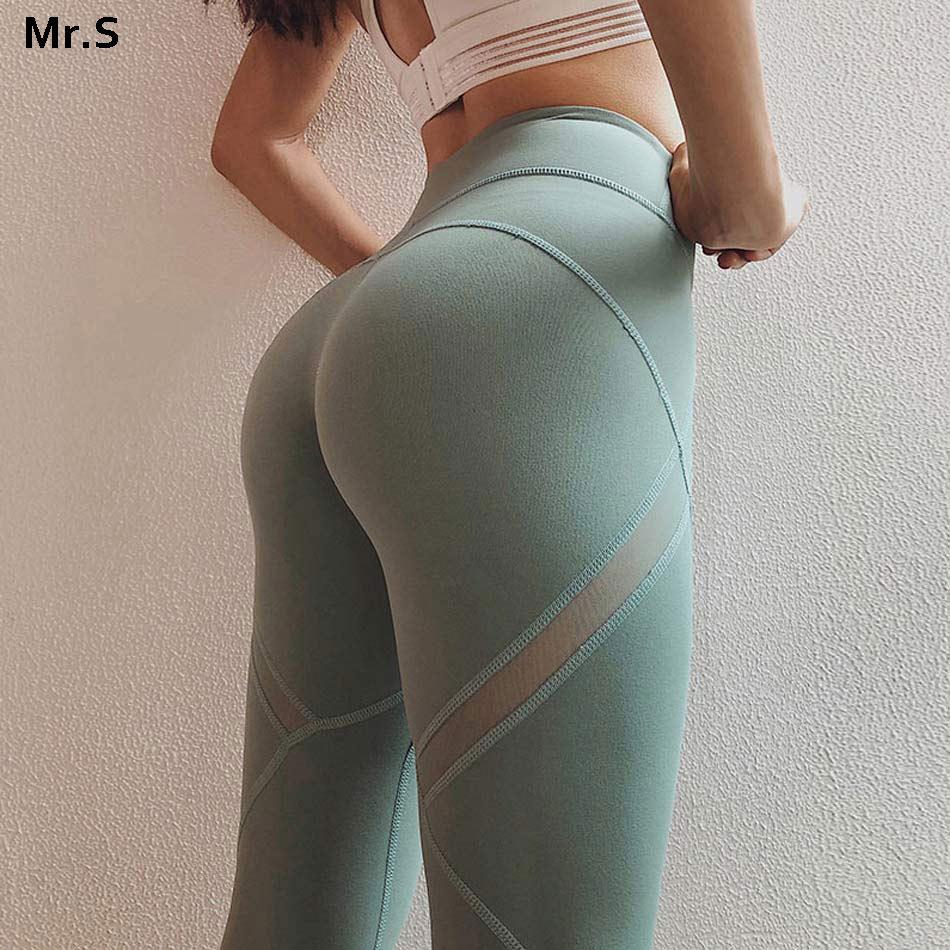 High waist mesh yoga pants workout gym yoga legging patchwork mesh panel fitness sport legging green running tights spandex