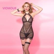 6151 Black Women Babydoll Lingerie Sexy Sleepwear with G String Underwear Sets Sexy Slim V Neck Female Chemise Costumes