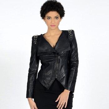 Punk Style PU Leather Jacket Women Black Slim Rivet Zipper Street Rock Plus Size Cool Skinny Autumn New Motocycle Jacket Coat leather jacket
