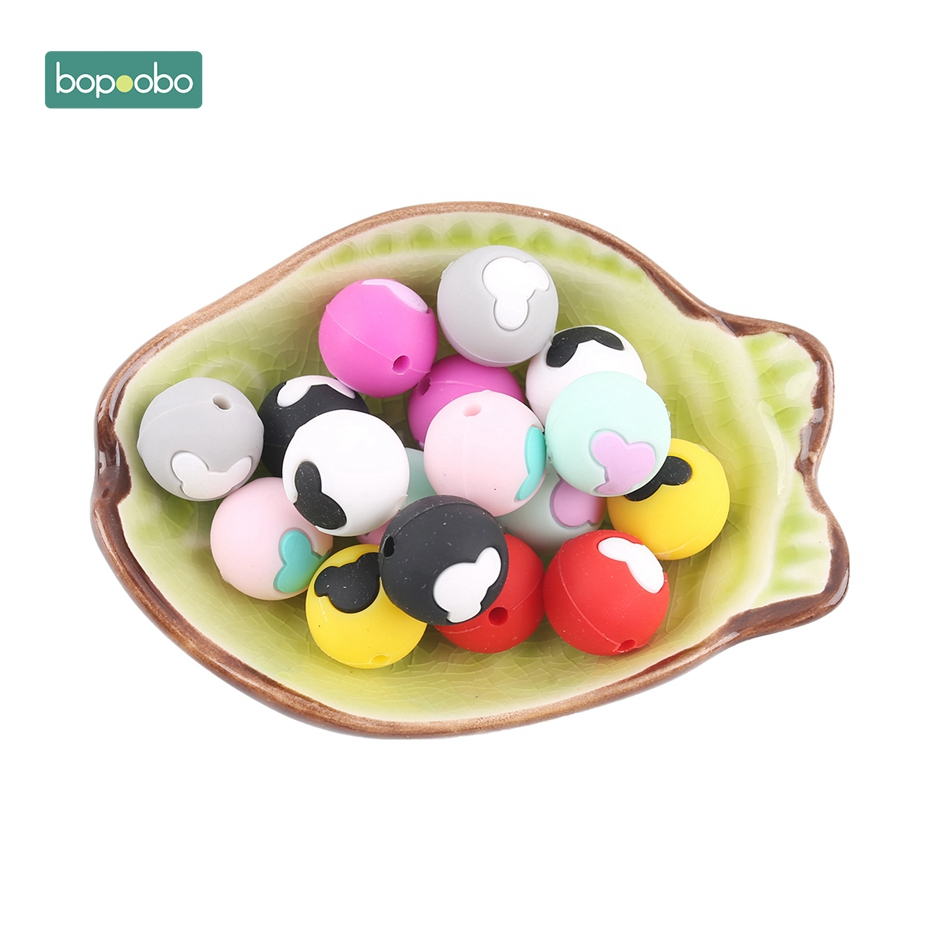 Bopoobo 10pcs Bear Head Round Silicone Beads Food Grade Silicone Teether High Quality DIY Crafts Accessories Baby Teethers