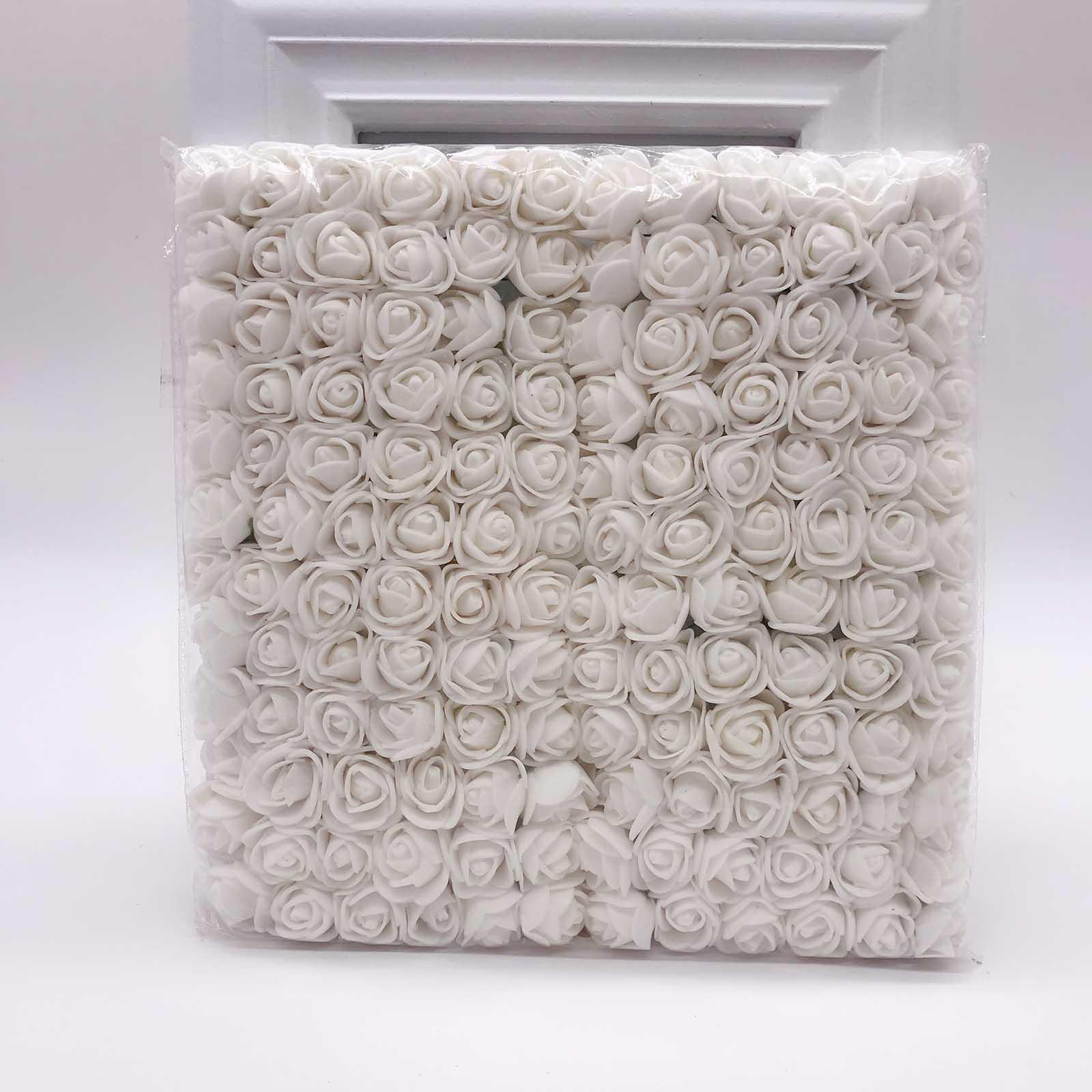 144 шт 2 см мини-розы из пенопласта для дома, свадьбы, искусственные цветы, декорация для скрапбукинга, сделай сам, венок, Подарочная коробка, дешевый искусственный цветок, букет - Цвет: white