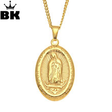 Oval Titanium Steel Religious Necklace Our Lady of Guadalupe Miraculous Medal Pendant Stainless Steel Virgen de Catholic Figure(China)