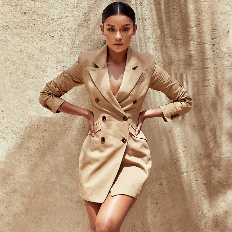 2018 New Fashion Hot Selling Elegant Beige Jacket For Party Casual Outfit Autumn Coat Long Sleeve Holiday Women Coats Wholesale