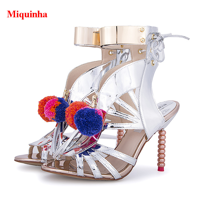 adefd976edd5 Silver Metallic Leather Mixed Color Pom Pom Yasmina Gladiator Sandals Boots  Bead High Heels Caged Cut-Outs Lace Up Zapatos Mujer