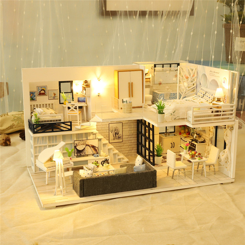 Creative gift 3D Wooden DIY Miniature House LED House House DIY Mini Dollhouse Toys Handmade Doll House Birthday Gift(China)