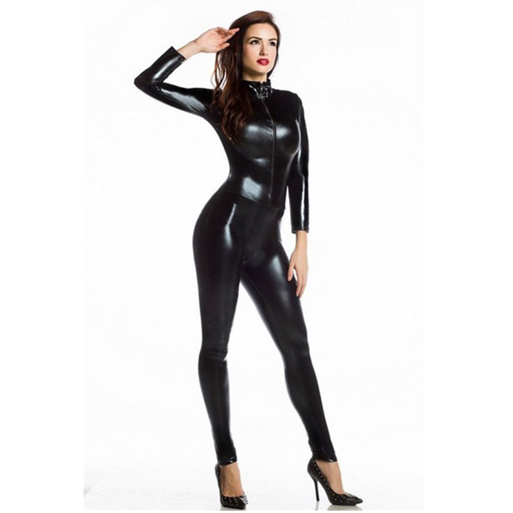 Women's Shiny Metallic Wet Look Zipper Front Catsuit Sexy Black Widow  Costume Liquid Long Sleeve One Piece Stretchy Bodysuit-in Movie & TV  costumes from ...