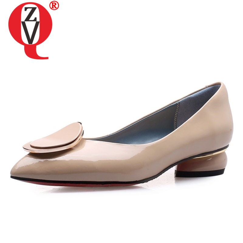 ZVQ shoes women 2019 spring new fashion patent leather pointed toe women pumps outside 3 cm