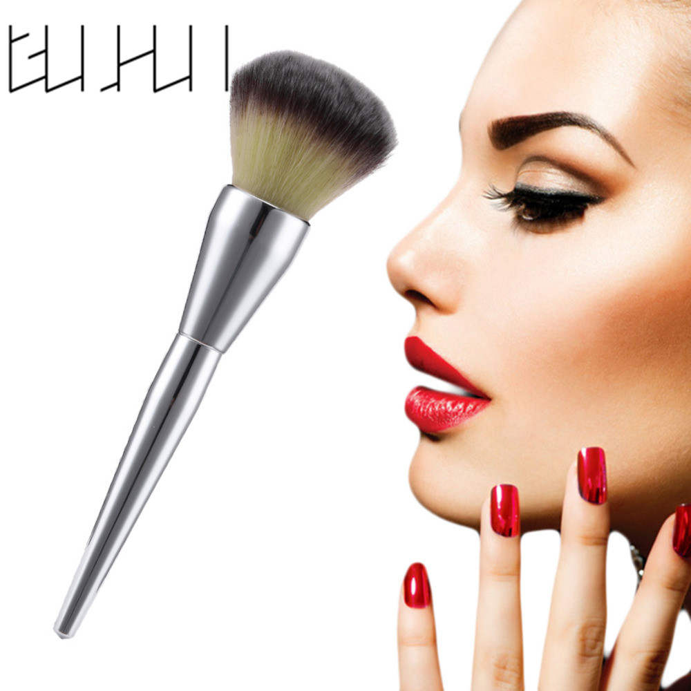 1pcs Hot sale Professional Large Silver Handle Face Makeup Brush Blush Powder Foundation Make Up Brushes Cosmetic Beauty Tools ducare large deluxe powder brush blush professional goat hair wooden handle face make up brushes cosmetics makeup tools