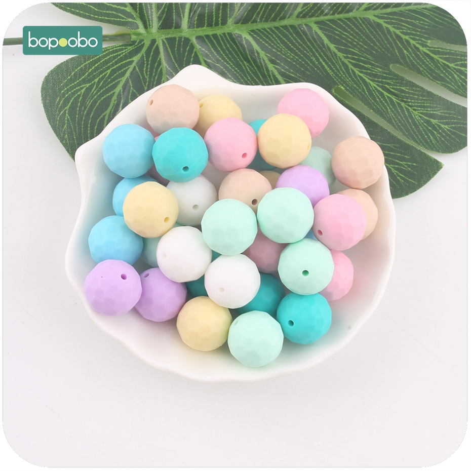 Bopoobo Silicone Teether Colorful 20pcs 15mm Multi-faceted Beads DIY Teething Necklace Made Chew Silicone Beads Baby Teether