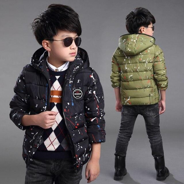 Teenage boy paint points hooded jacket children 2017 spring winter new boy plus velvet coat  12 year old kids clothes toddler