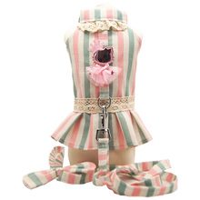 Cute luxury dog princess tutu dress skirt lover clothes shirt vest small Pet Cat Harness and Leash Collar Leads