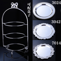 10pcs Silver Plated Fashion Metal Cake Stand Dessert Wrought Iron Wedding Decoration Dessert Plate Three Fruit