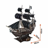 Free Shipping 3D Wood Puzzle DIY Model Kids Toy Oversized Pirate Ship Puzzle 3d Building Model