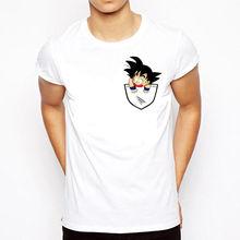 DRAGON BALL Z Pocket T Shirt Goku Anime Tee Casual DBZ Bandai Sleeping Cheeky Free shipping  Harajuku Tops Fashion Classic