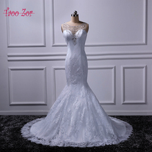 Taoo Zor High Quality Lace Mermaid Ivory/ White Wedding Dress 2017 Beaded Crystal Sequined Chapel Train Bridal Gown Custom Size