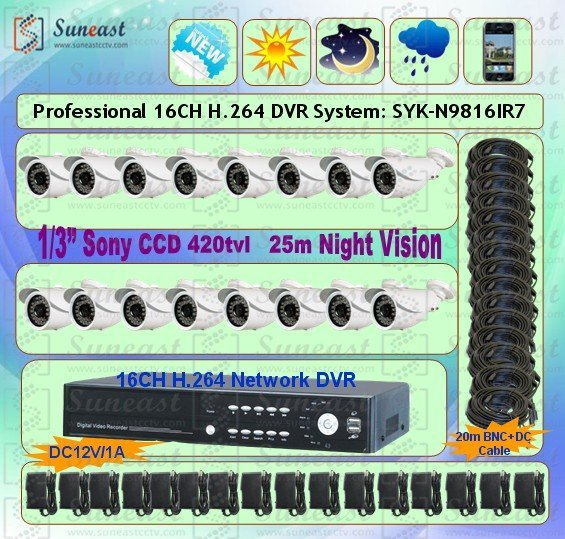 "16CH H.264 DVR 1/3""SONY CCD CCTV CAMERA SYSTEM Free shipping SYK-N9816IR7-1"
