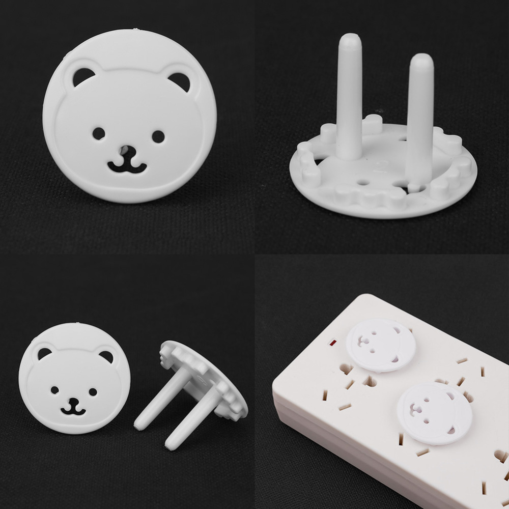 10/20pcs Safety Outlet Plug Cover Child Baby Proof Electric Shock Guard Cap White Shock Guard Cartoon Safety Protector Sockets