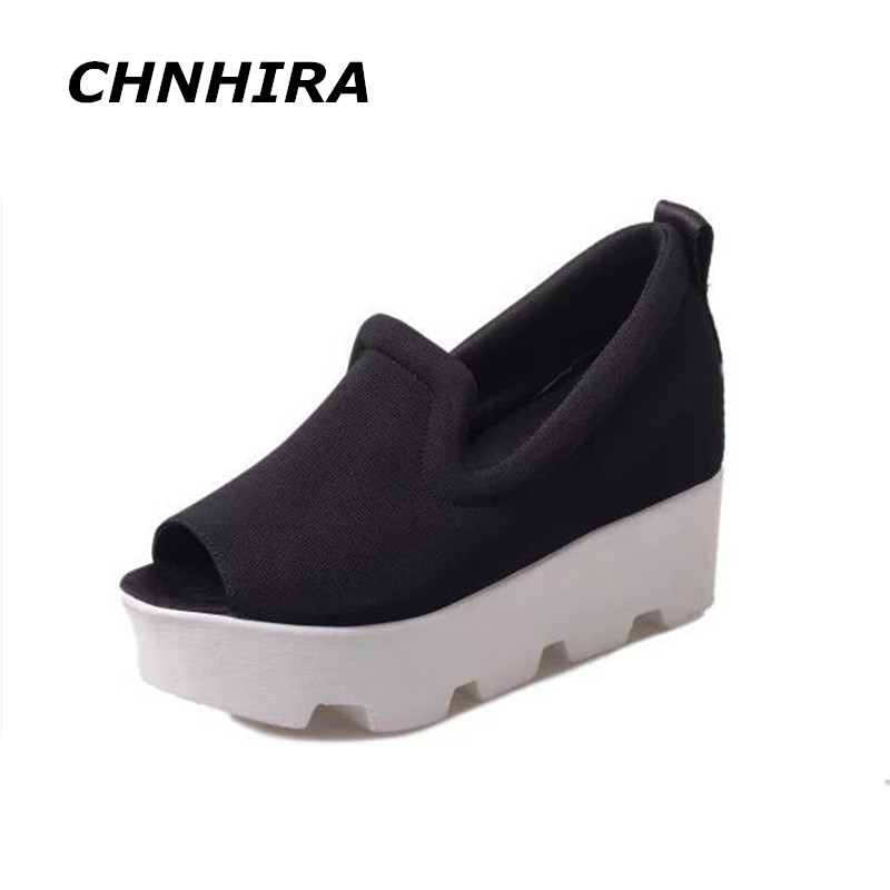 CHNHIRA 2017 Women Sandals Peep Toe Shallow Women Summer Fashion Shoes Platforms Canvas Ladies Pure Color Shoes 32#HR84