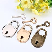 WALFRONT 3Pcs/Lot Silver + Gold Bronze Antique Metal Padlock Key Notebook Lock