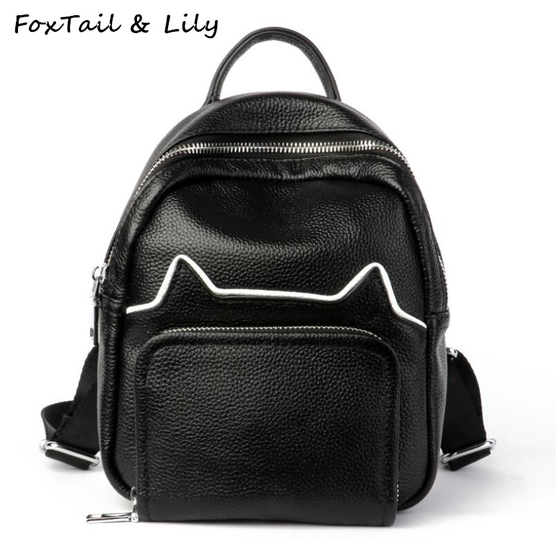 FoxTail & Lily Brand Women Genuine Leather Mini Backpacks for Teen Girls Fashion Soft Cow Leather Popular School Shoulder BagsFoxTail & Lily Brand Women Genuine Leather Mini Backpacks for Teen Girls Fashion Soft Cow Leather Popular School Shoulder Bags