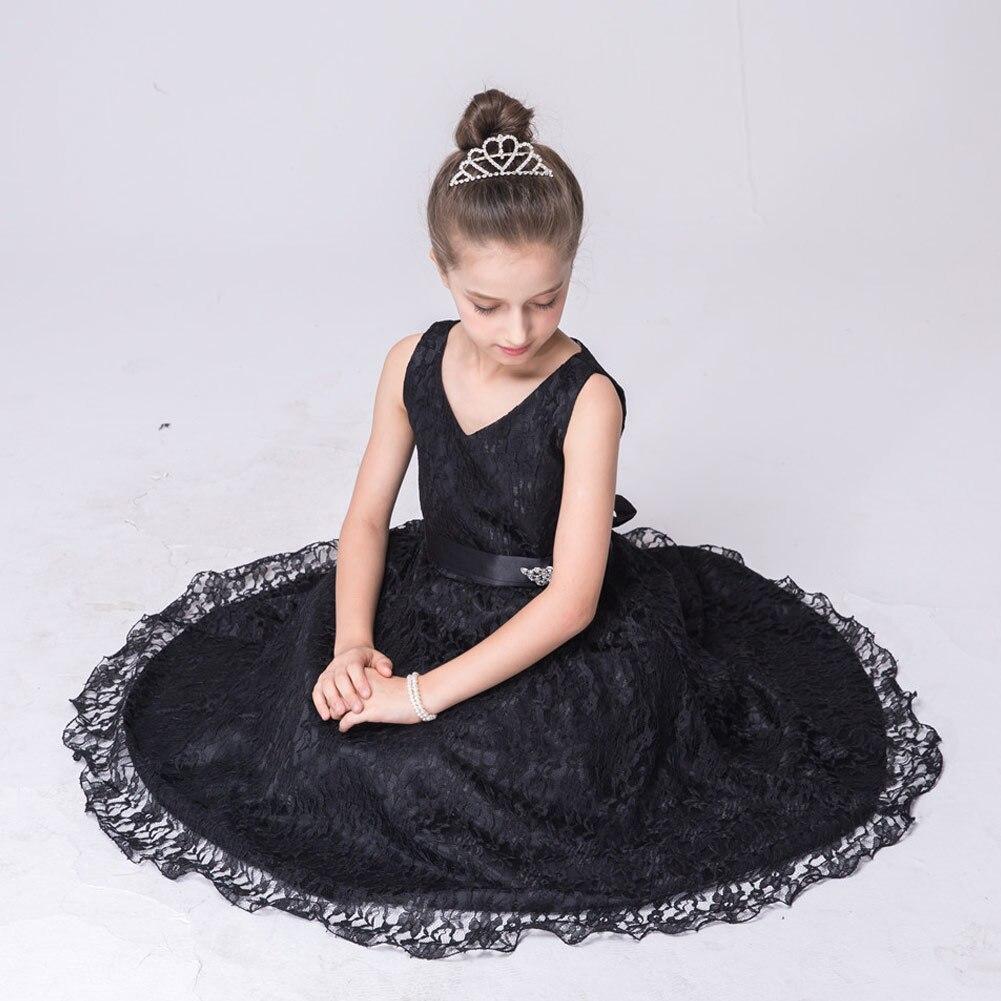 Kids Girls Formal Dress Lace V Neck Sleeveless Slim Fit Princess Dress with Belt YH-17Kids Girls Formal Dress Lace V Neck Sleeveless Slim Fit Princess Dress with Belt YH-17