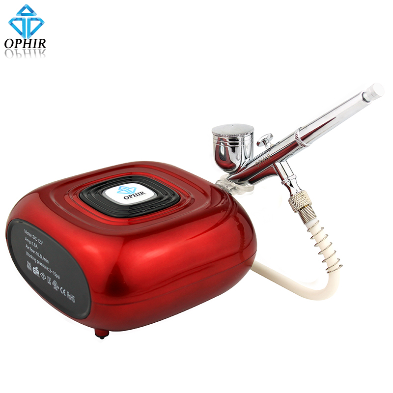 OPHIR Airbrush Kit & 3-Mode Mini Air Compressor Set Nail Machine for Nail Airbrushing Body Paint Temporary Tattoo_AC123R+AC004A ophir 3 tips dual action airbrush gravity paint air brush with 110v 220v air tank compressor for nail art body paint ac090 070