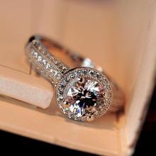 Потрясающие Роскошные ювелирные изделия Лидер продаж 8 мм круглой огранки 5A кубический цирконий CZ стерлингового серебра 925 партия Для женщин обручальное кольцо подарок