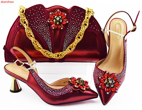 doershow African Shoes And Bag Matching Set With wine Hot Selling Women Italian Shoes And Bag Set For Party Wedding !HLN1-37