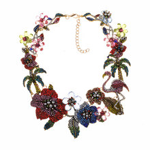 Women Classic Flower Flamingo Rhinestone Necklace for Ladies Party Wedding Fashion Necklace Jewelry Accessories chic rhinestone petal flower necklace for women