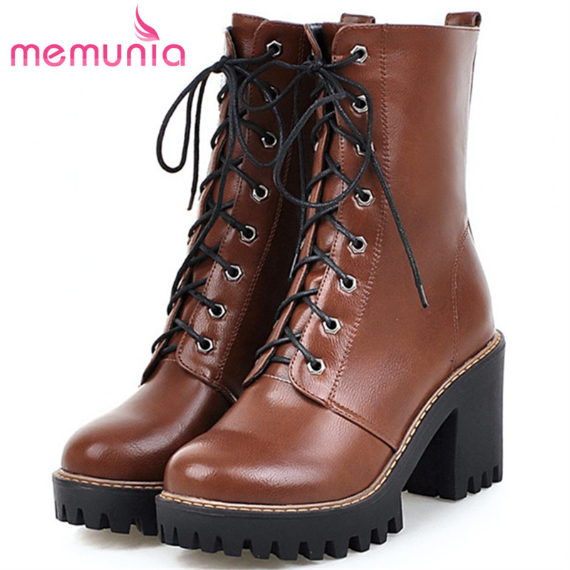 MEMUNIA 2018 New arrive motorcycle boots for women fashion shoes woman ankle boots platform lace-up PU solid big size 34-43 memunia big size 34 44 high heels shoes woman pu soft leather platform boots female zip solid ankle boots for women round toe