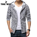 Popular 2017 Floral Fashion Man's Jacket Thin Slim Casual Print Pattern Hooded Men Jacket Plus Seven Colors Size M-XXXL MWJ903
