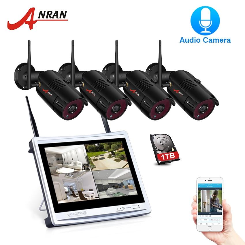 купить ANRAN P2P 4CH 12''LCD Monitor NVR 2.0 MP 36IR Waterproof Outdoor Bullet 1080P Video Audio IP Wireless Camera Security System HDD недорого